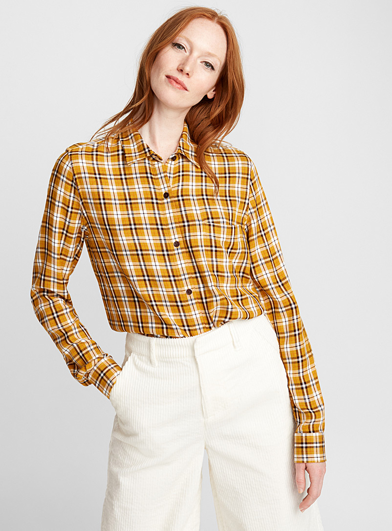 Plaid flannel shirt - Shirts - Patterned Yellow