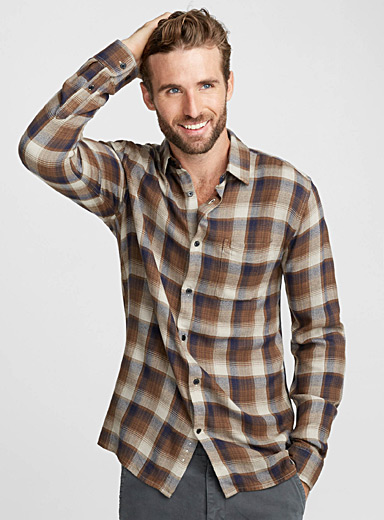 Faded plaid flannel shirt <br>Semi-tailored fit