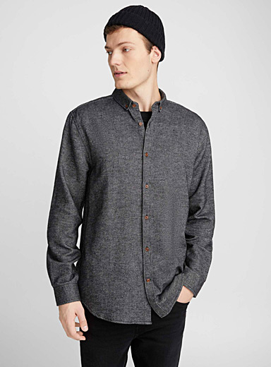 Heathered flannel shirt <br>Semi-tailored fit