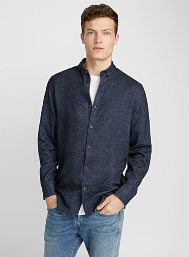 Heathered flannel shirt  Semi-tailored fit