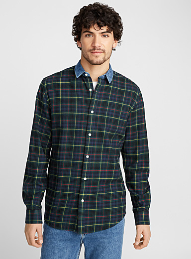 Denim-collar check shirt <br>Modern fit