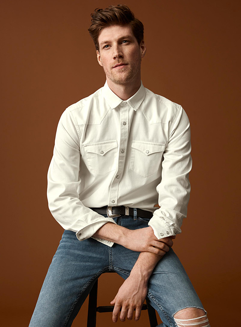 White denim Western shirt  Modern fit - Long sleeves - White