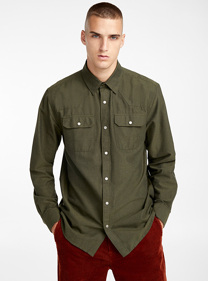 Western organic cotton oxford shirt - Long sleeves - Khaki