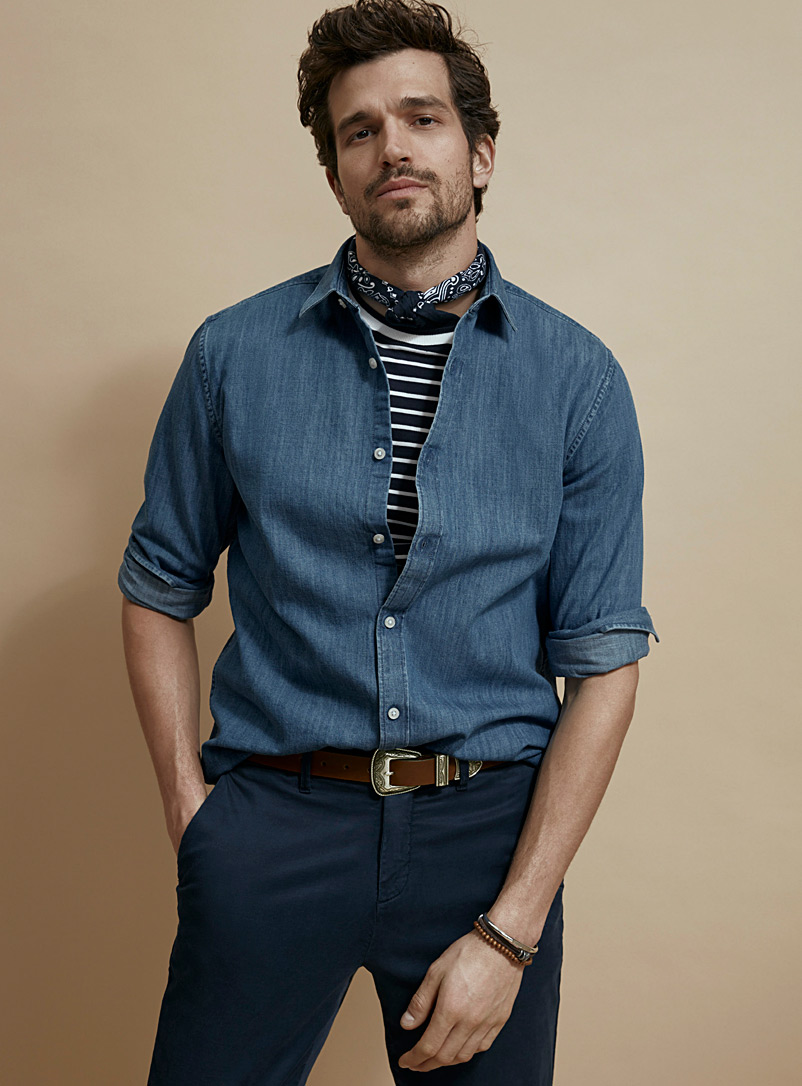 Le 31 Blue Minimalist denim shirt  Modern fit for men