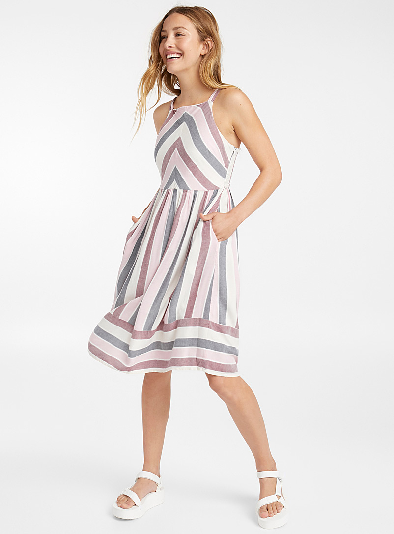 Country-stripe dress - Midi - Marine Blue