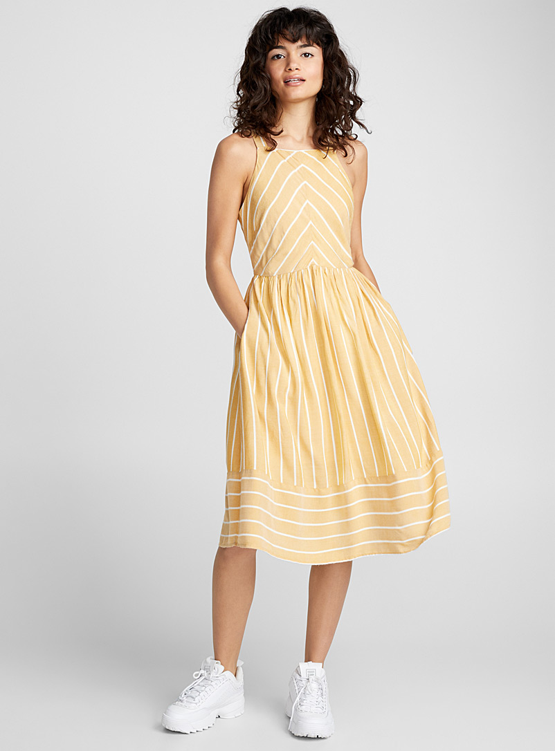 Country-stripe dress - Midi - Medium Yellow