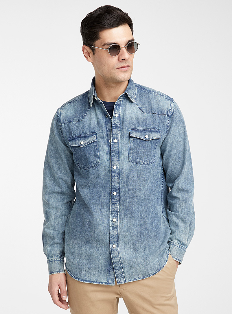 Le 31 Blue Western denim shirt  Modern fit for men