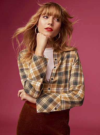 Accent cuff check shirt