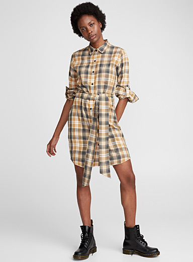 Knotted belt shirtdress