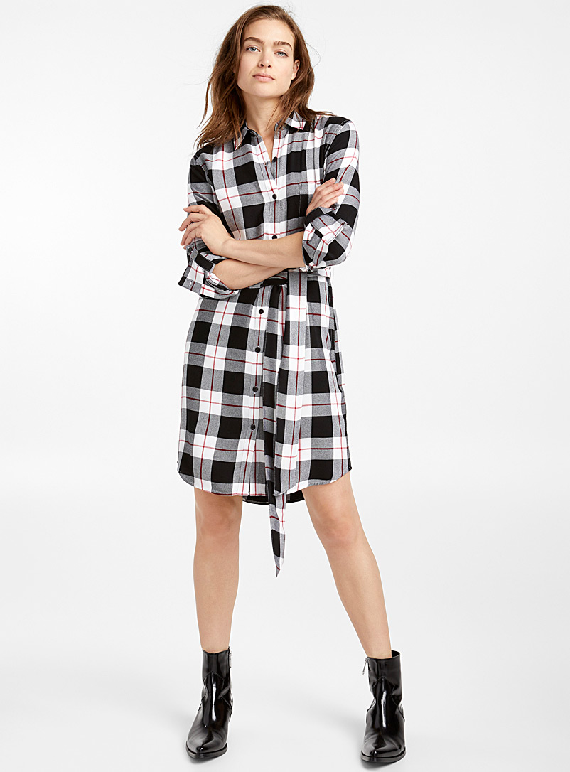 Knotted belt shirtdress - Straight - Black and White