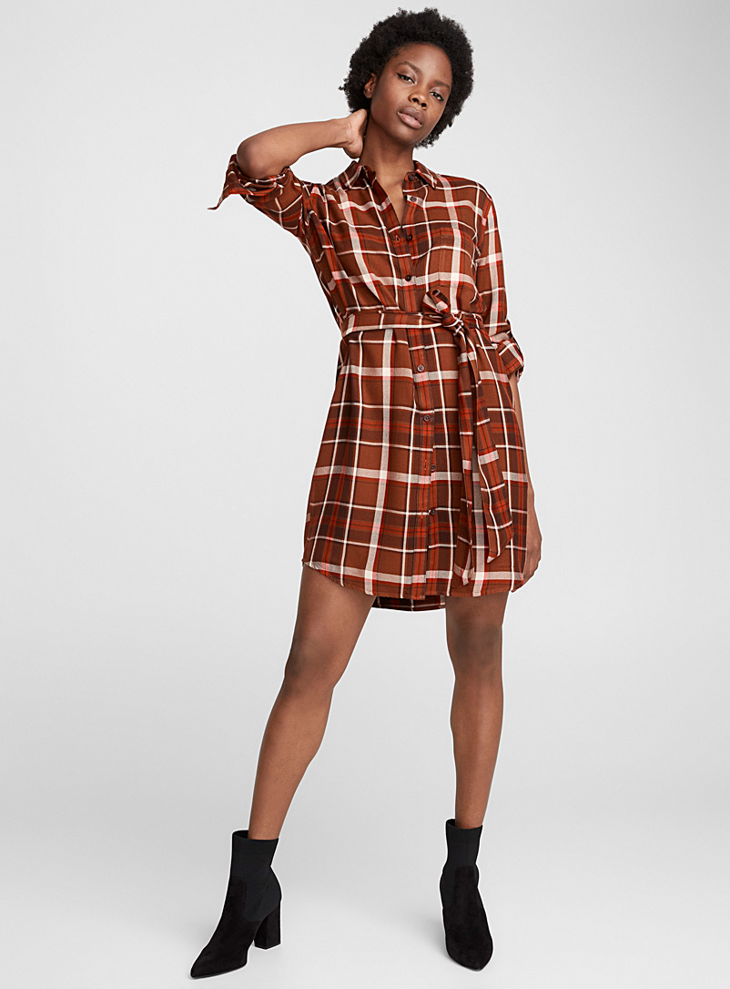 Knotted belt shirtdress - Straight - Patterned Brown