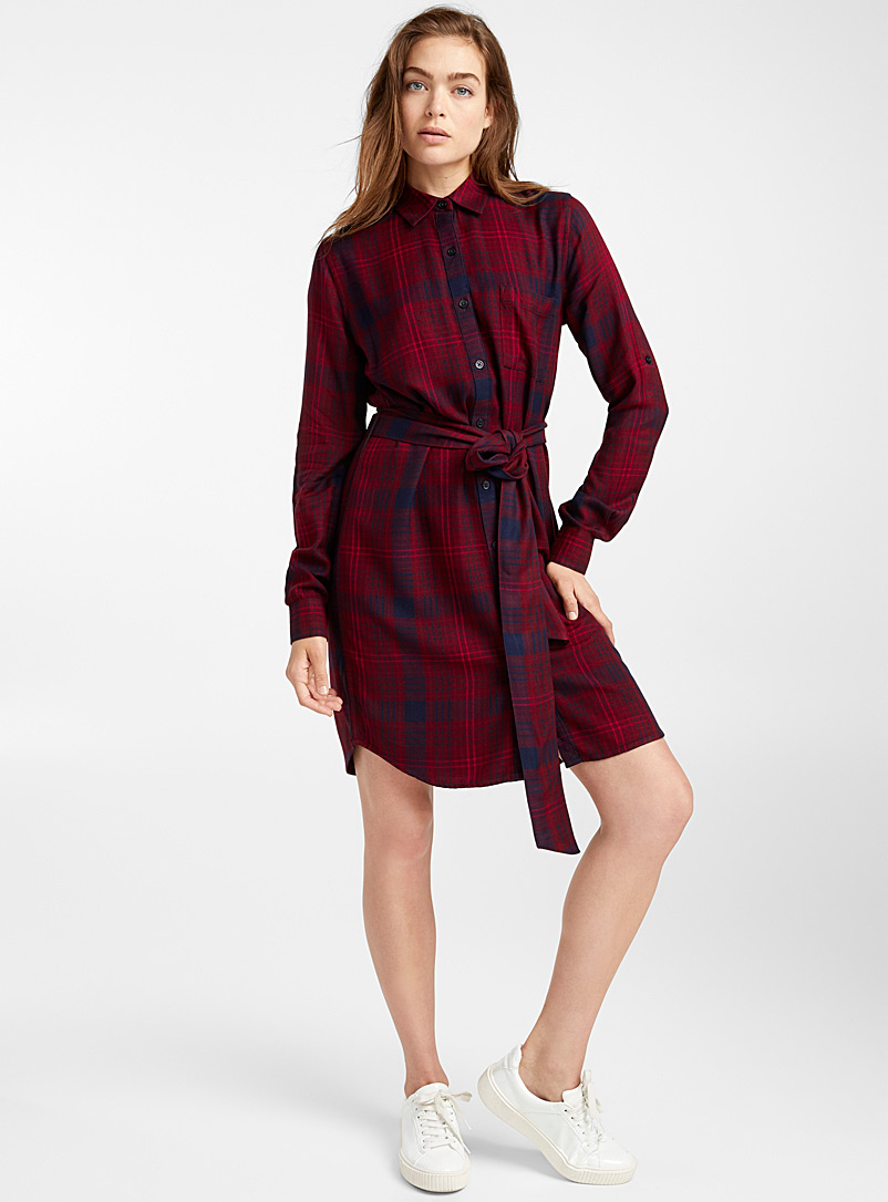 Knotted belt shirtdress - Straight - Patterned Red