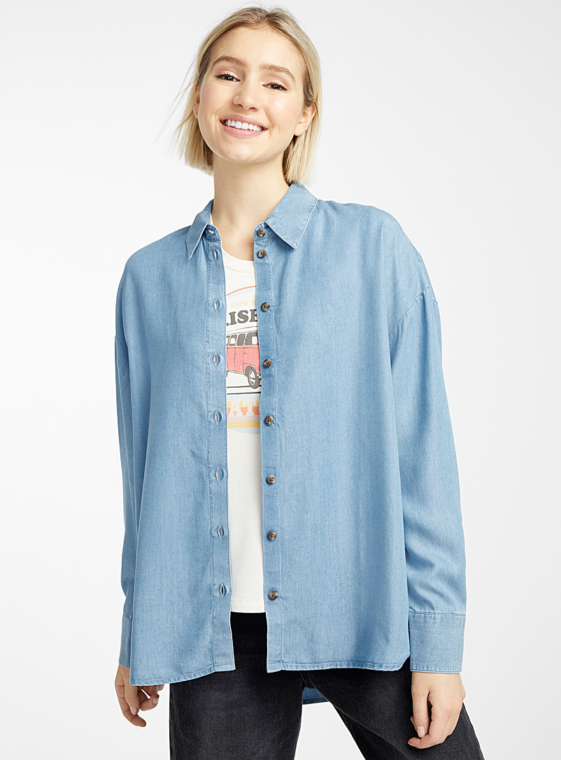 Twik Baby Blue Loose TENCEL lyocell shirt for women