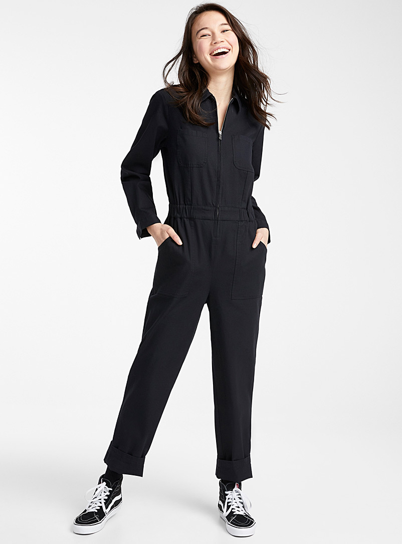 Twik Black Eco-friendly utility jumpsuit for women