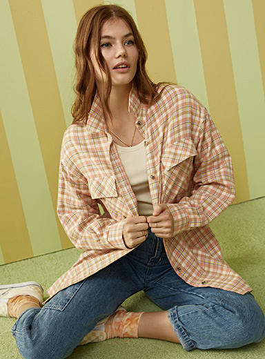 Twik Patterned Brown Organic cotton checked flannel shirt for women