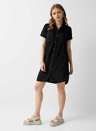 Twik Black TENCEL* lyocell shirtdress for women