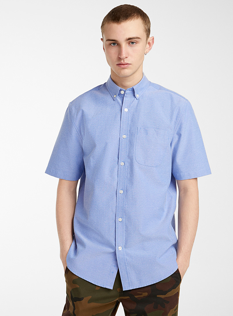 Djab Marine Blue Neon oxford shirt for men