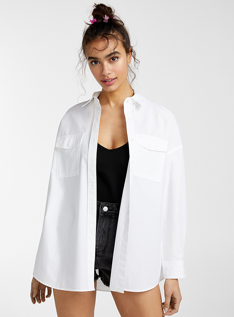 Twik White Oversized utility shirt for women