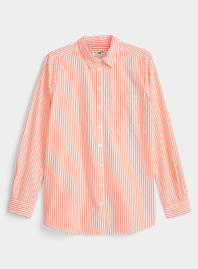 Twik Light Red Summer stripe organic cotton shirt for women