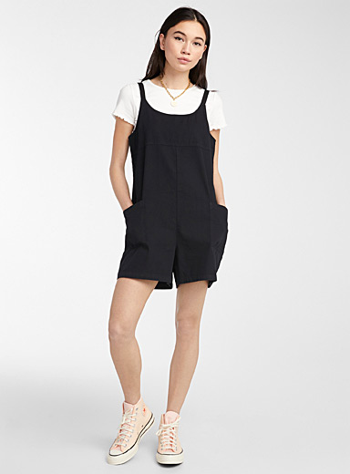 Twik Black Eco-friendly utility romper for women