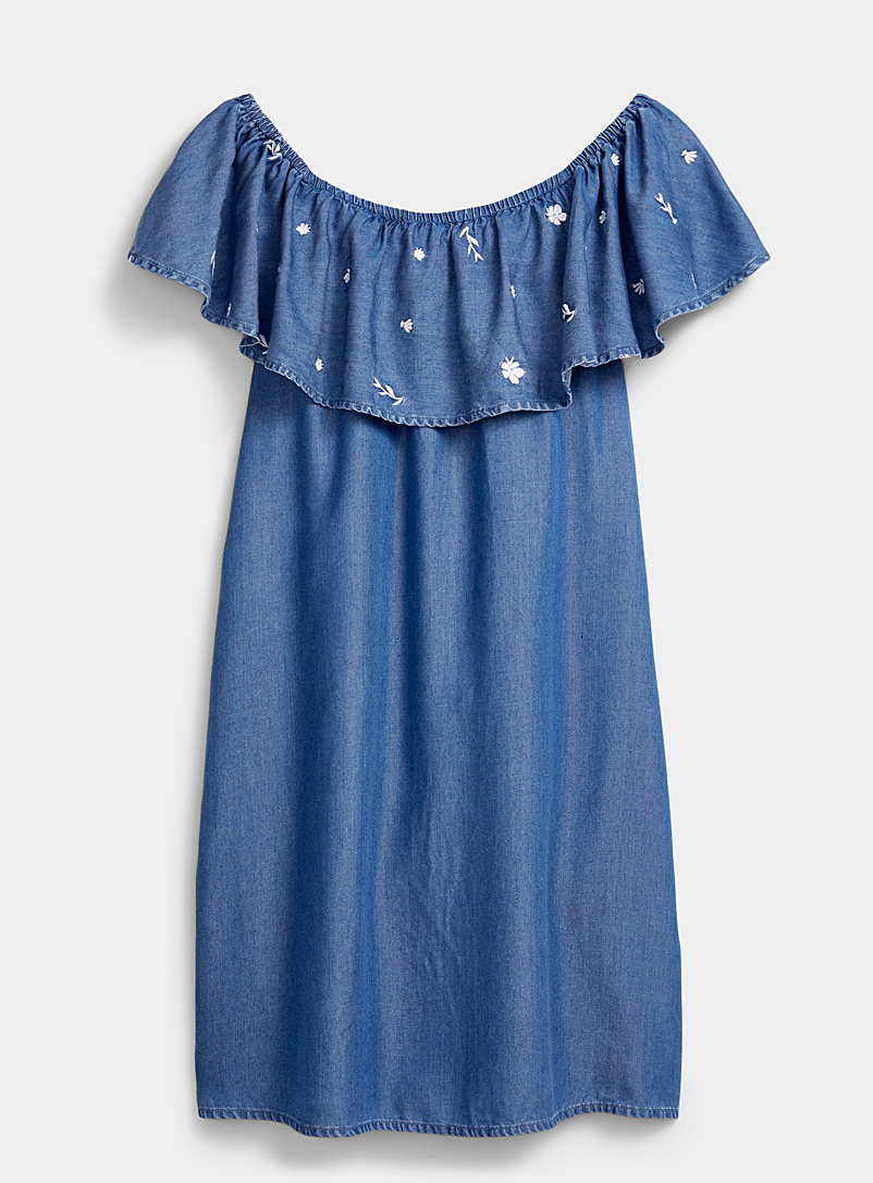 Twik Blue Floral embroidery ruffle off-the-shoulder dress for women