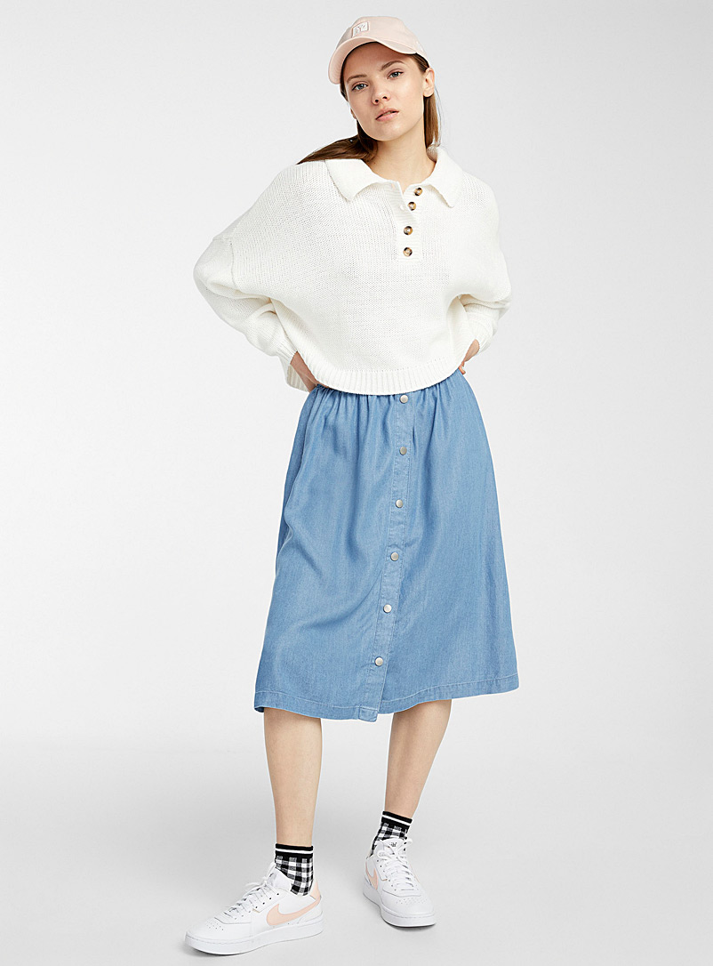 Twik Baby Blue TENCEL* Lyocell buttoned skirt for women