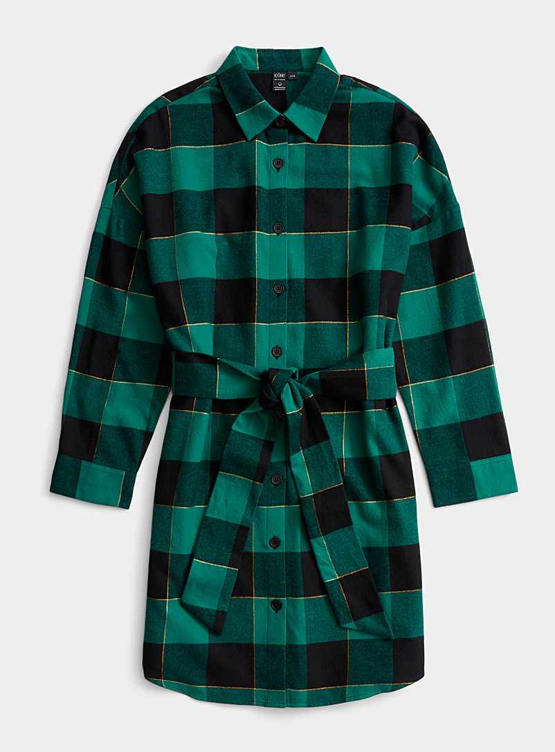 Icône Slate Blue Flannel check shirtdress for women