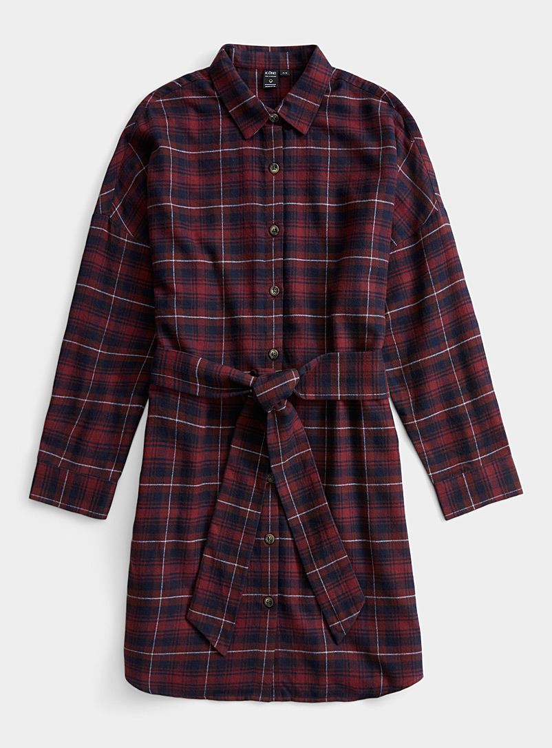 Flannel check shirtdress