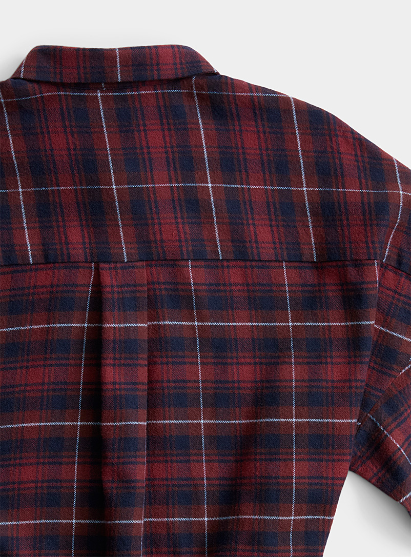 Icône Patterned Crimson Flannel check shirtdress for women