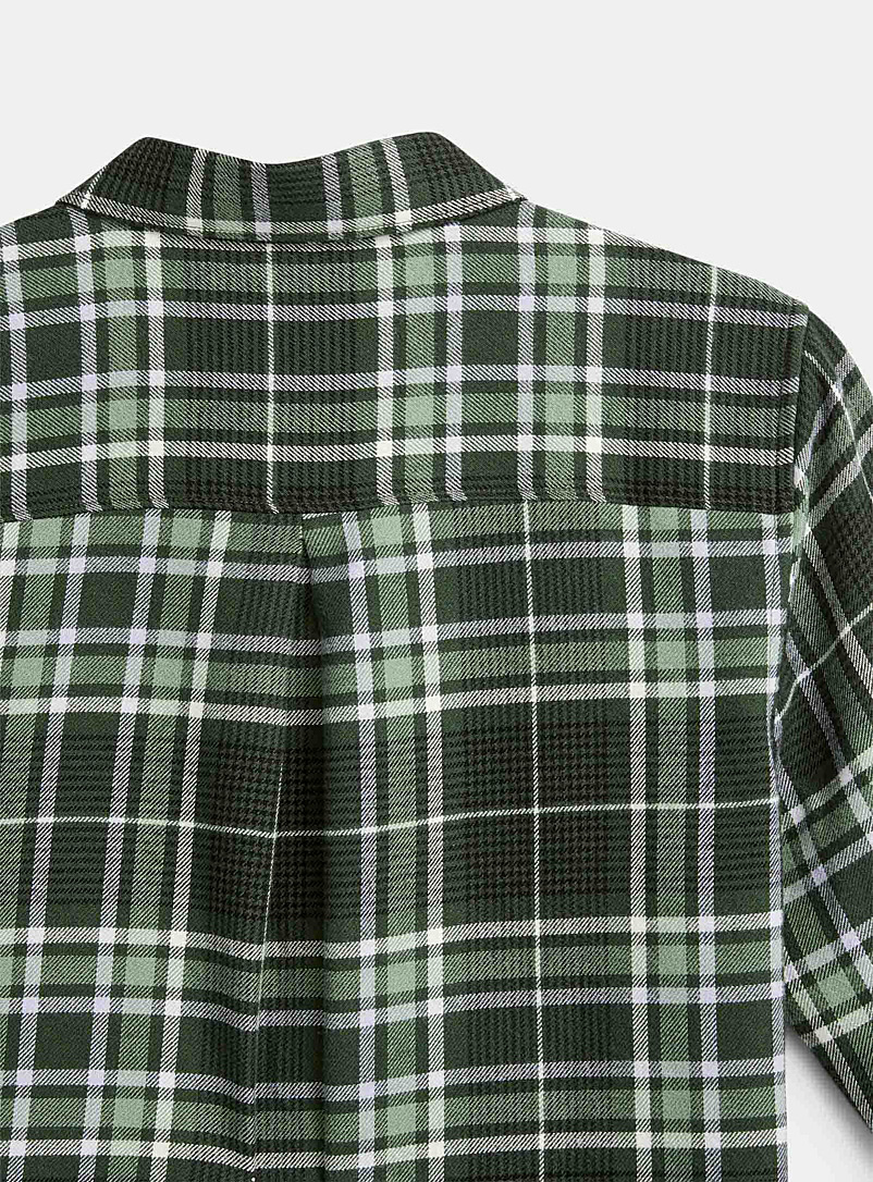 Icône Patterned White Plaid flannel shirt for women