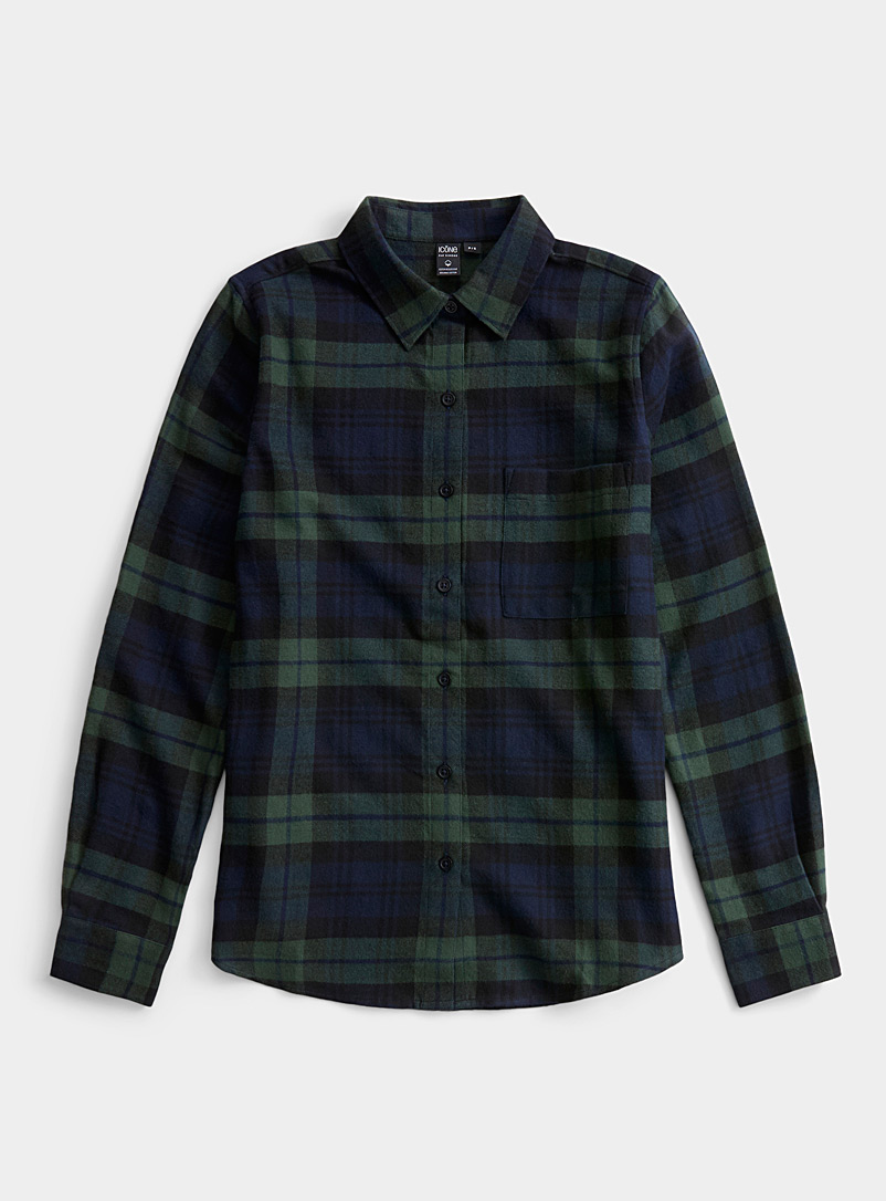 Icône Patterned Blue Plaid flannel shirt for women