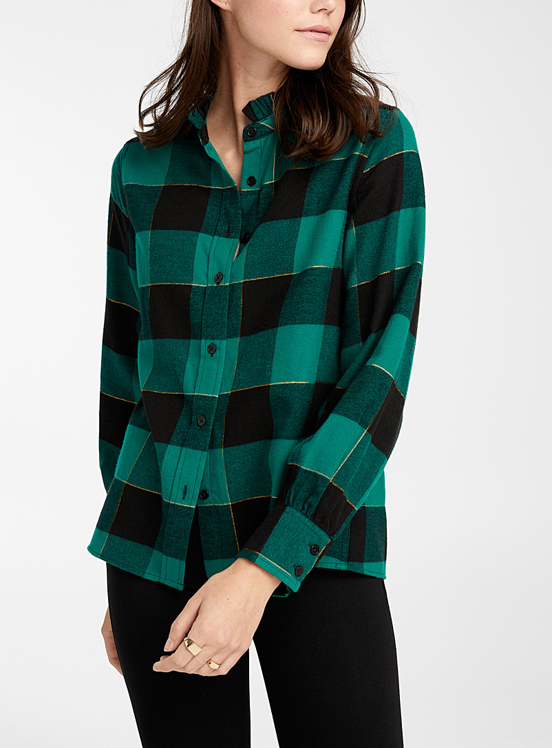 Ic?ne Slate Blue Gathered-collar checked flannel shirt for women