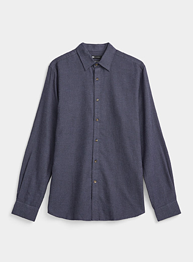 Le 31 Marine Blue Two-tone organic flannel shirt  Comfort fit for men