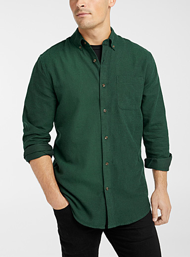 Le 31 Mossy Green Two-tone piqué flannel shirt  Modern fit for men