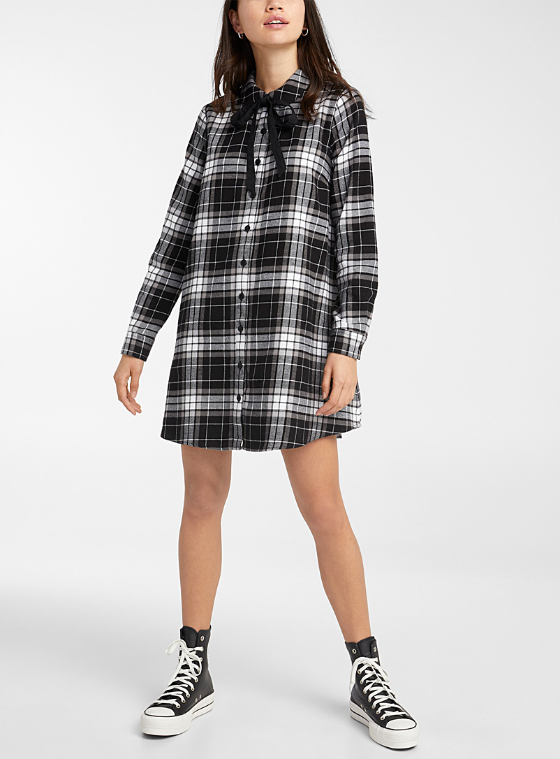 Twik Patterned White Check flannel tie-neck dress for women