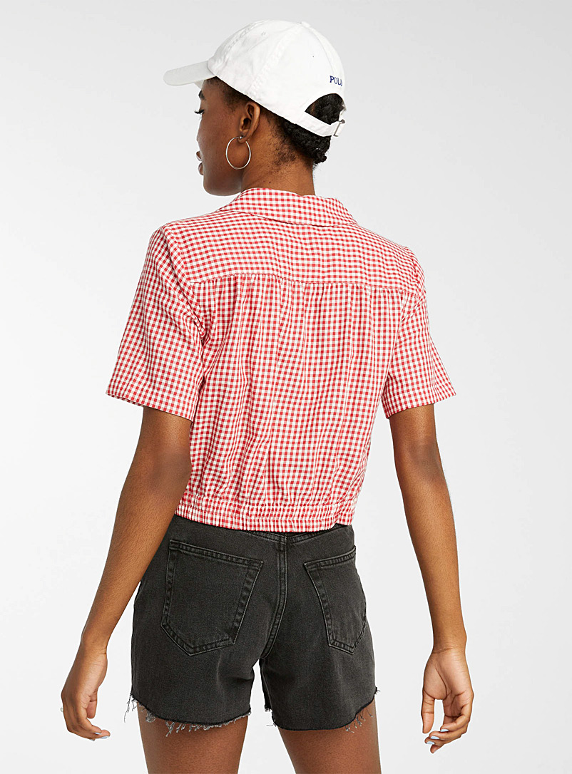 Twik Patterned Red Elastic cropped open-collar shirt for women