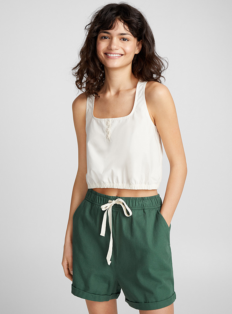 Organic cotton high-rise short - Shorts - Khaki