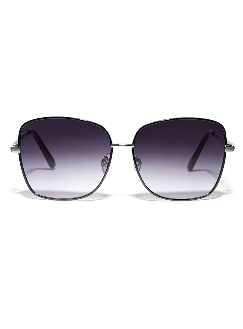 Simons Silver Two-tone square sunglasses for women