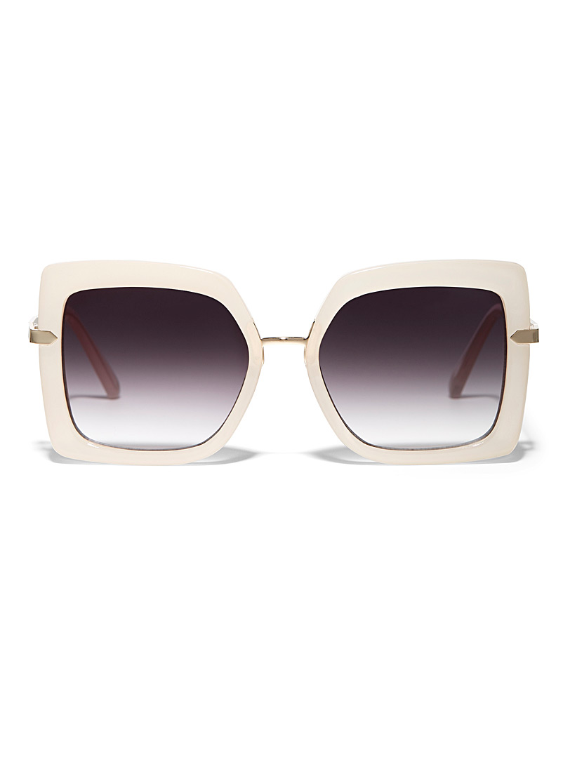 Simons Cream Beige Pop square sunglasses for women