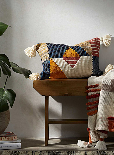 Geometric patchwork cushion <br>35 x 50 cm