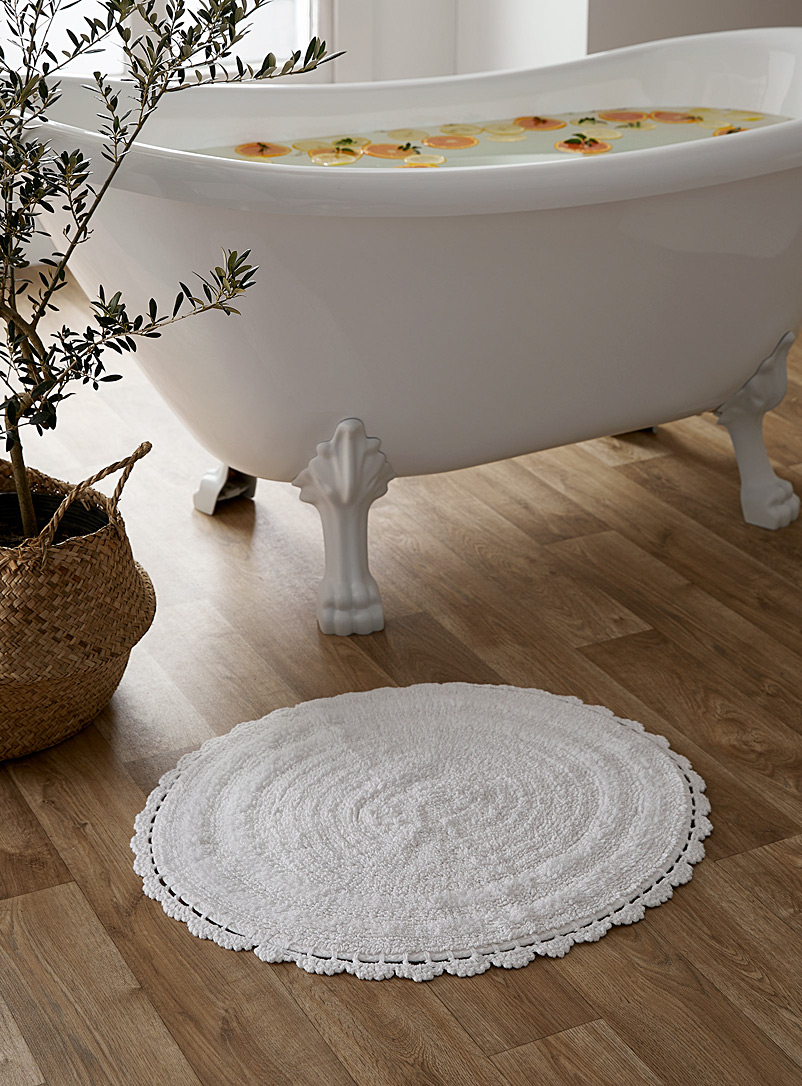 Round crochet bath mat  60 x 60 cm - Bath Rugs - White
