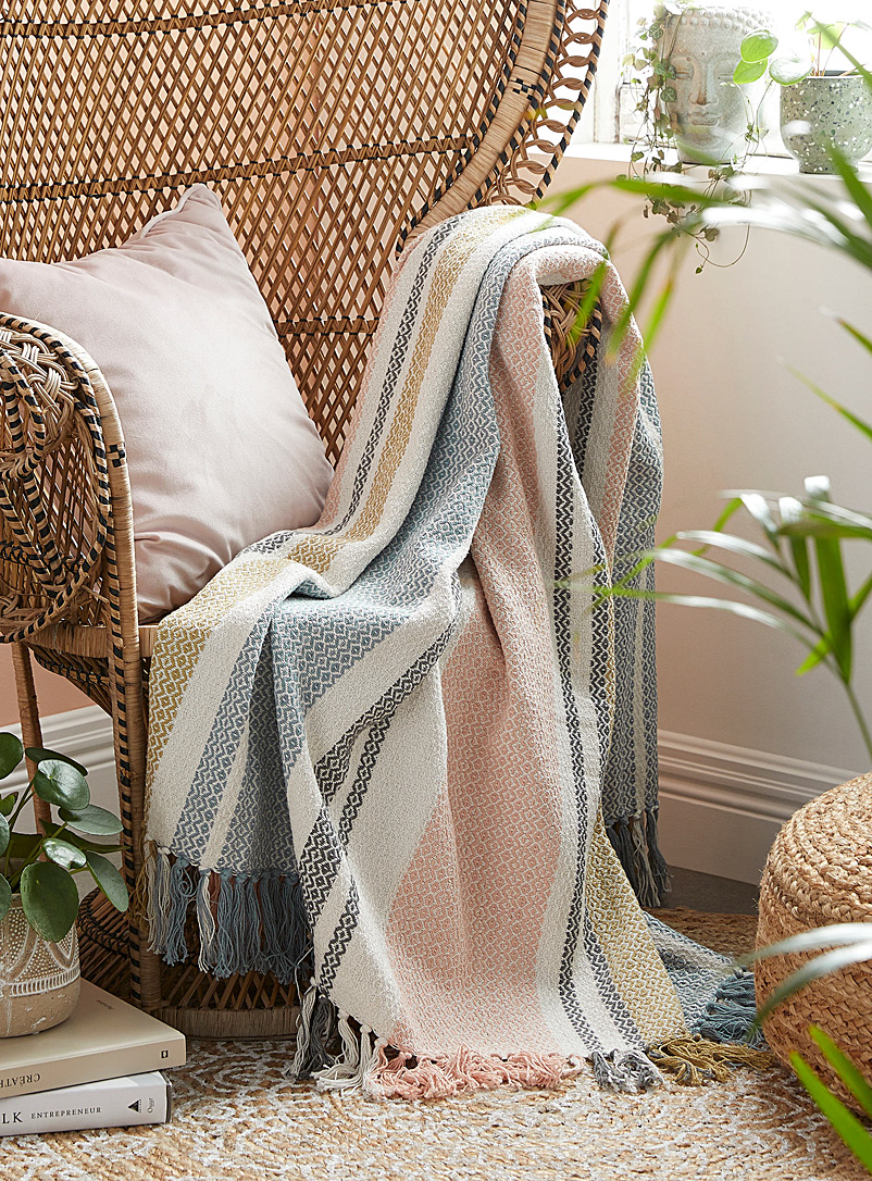 Diamond stripe pure cotton throw  130 x 150 cm - Natural fibres - Assorted