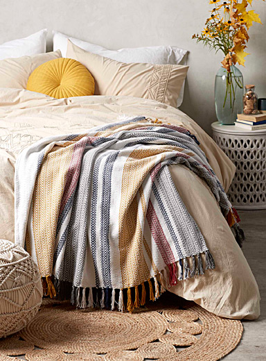 Simons Maison Assorted Diamond-stripe throw  130 x 150 cm