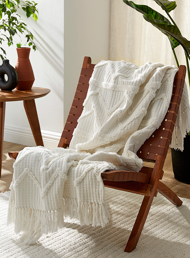 Chenille embroidery throw  130 x 150 cm - Woven - White