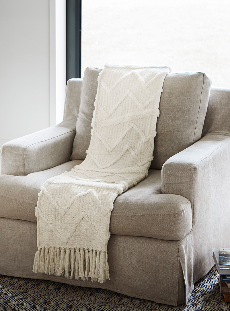 Chenille embroidery throw  130x150cm - Woven - White