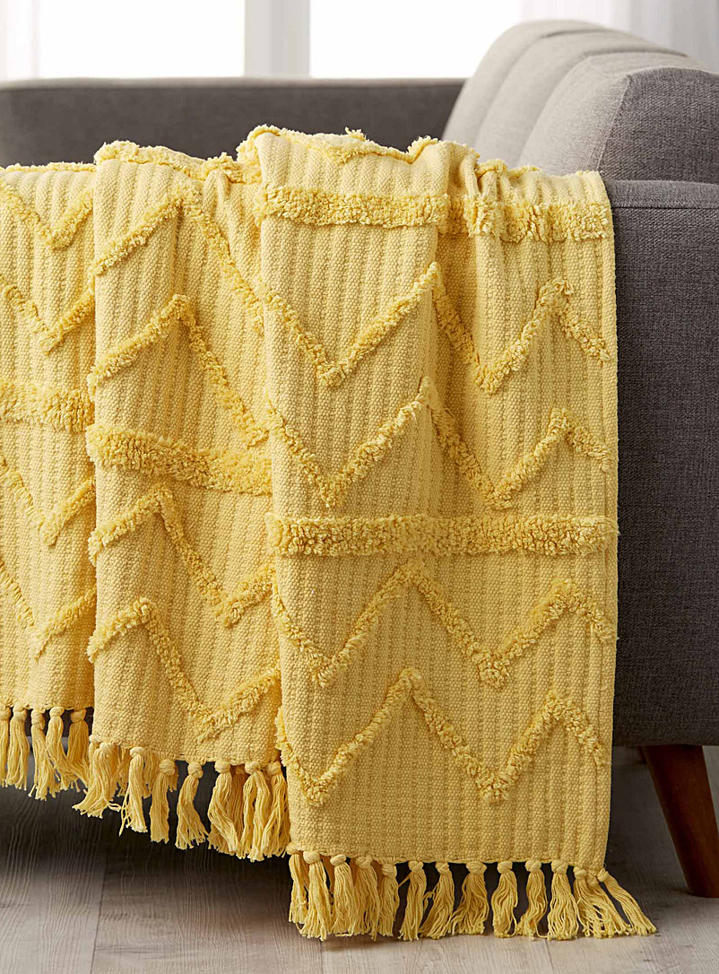 Chenille embroidery throw  130x150cm - Woven - Light Yellow