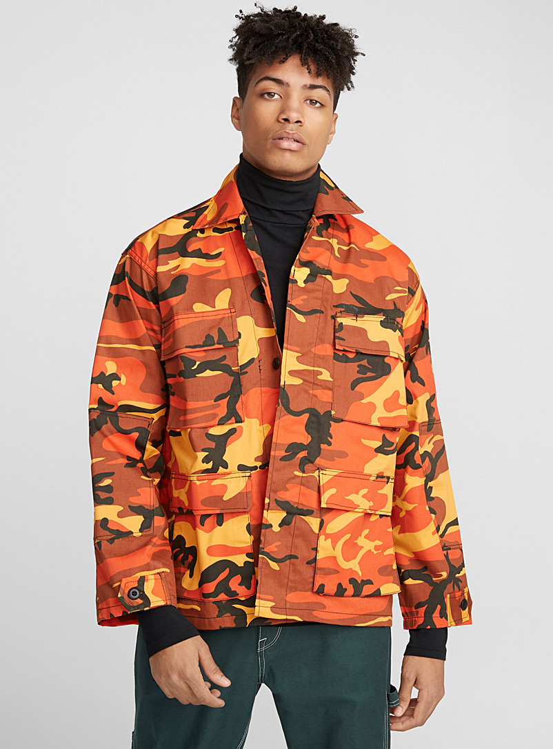 Orange camo shirt - Long sleeves - Patterned Orange