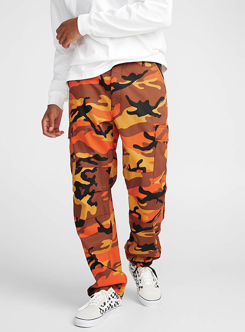 Le pantalon cargo camo orange - Coupe droite - Orange à motifs