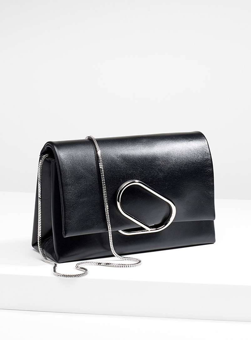 3.1 Phillip Lim Black Black Alix soft flap clutch for women