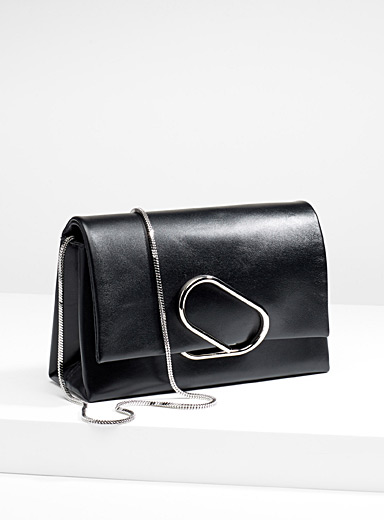 Black Alix soft flap clutch